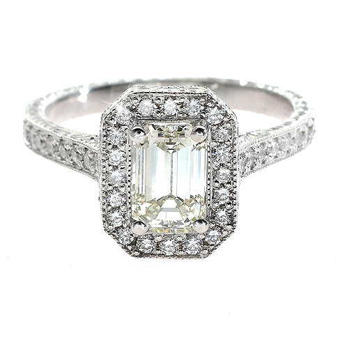 Emerald Cut Diamond Halo Engagement Ring Downtown Los Angeles Diamond District