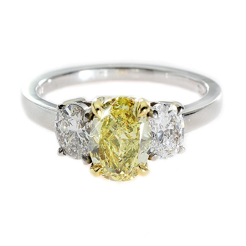 Oval Yellow Diamond 3 Stone Engagement Ring Downtown Los Angeles Diamond District