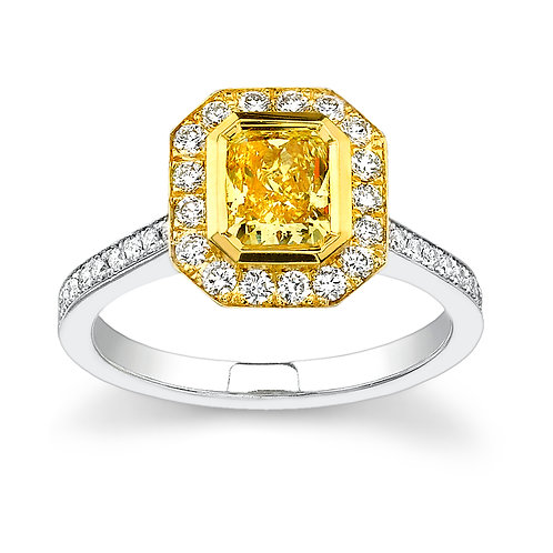 Yellow Sapphire Bezel Set with Diamond Halo Downtown Los Angeles Diamond District