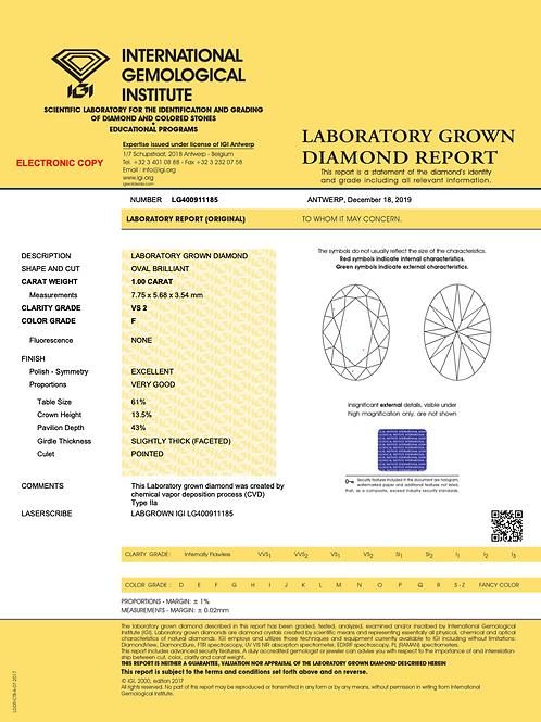 IGI Lab Grown Diamond Oval 1.00Ct. F VS2
