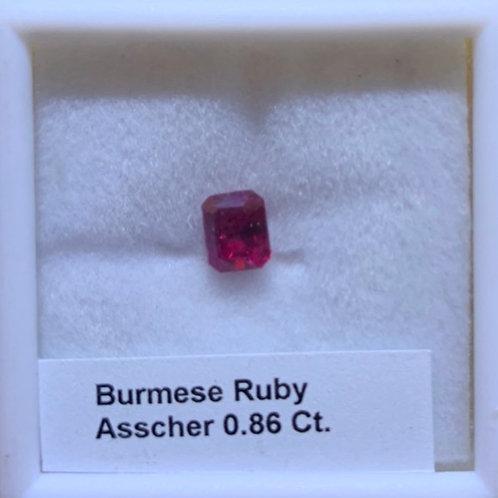 Ruby Assher Cut 0.86 Ct.