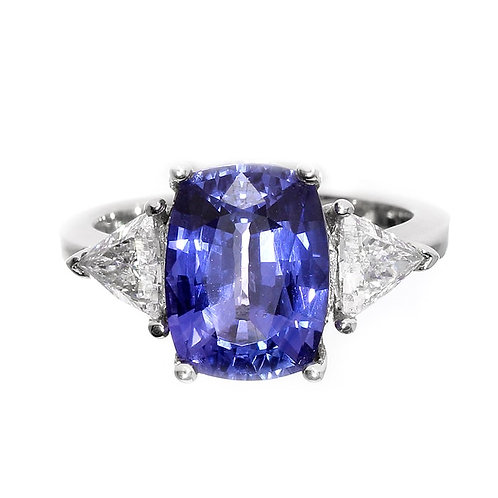 Cushion Cut Tanzanite 3 Stone Engagement Ring Downtown Diamond District