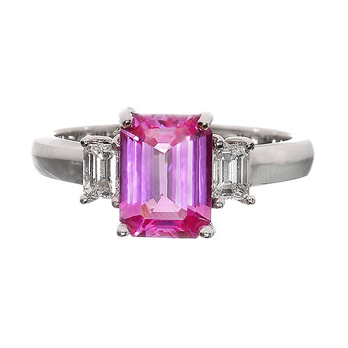 Emerald Cut Pink Sapphire 3 Stone Ring Downtown Los Angeles Diamond District