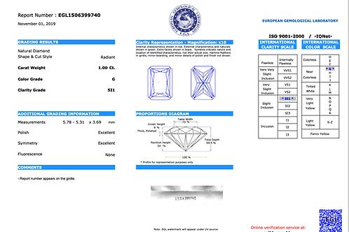 EGL Radiant 1.00Ct. G SI1