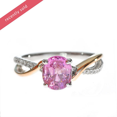 Oval Pink Sapphire multi gold twist Engagement Ring Downtown Los Angeles Diamond District
