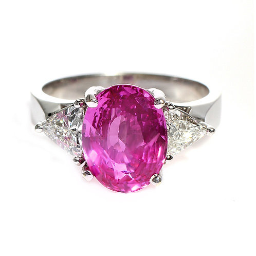 Oval Pink Sapphire 3 Stone Ring Downtown Los Angeles Diamond District