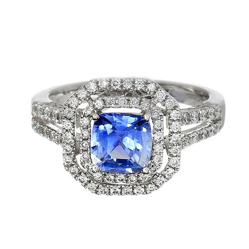 Blue Sapphire Double Diamond Halo Ring Downtown Los Angeles Diamond District