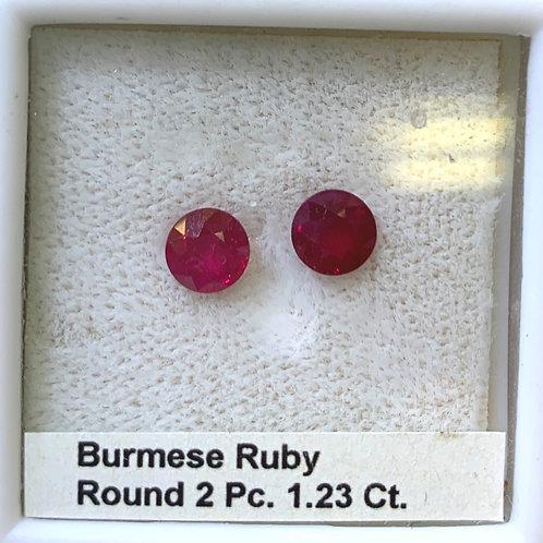 Burma Ruby Round Pair 1.23 Ct.