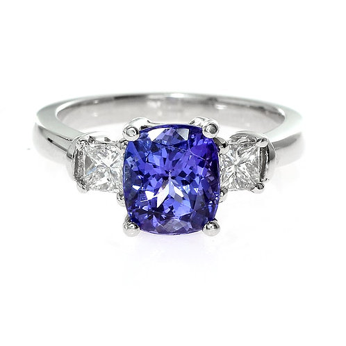Cushion Cut Tanzanite 3 stone Engagement Ring Downtown Los Angeles Diamond District