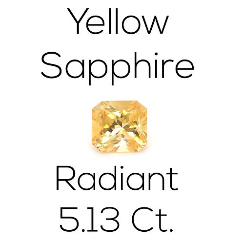 Yellow Sapphire Radiant 5.13 Ct.