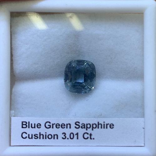Blueish Green Cushion Sapphire 3.01 Ct.