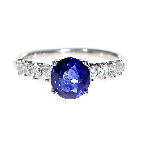 Round Blue Sapphire with Diamond Solitaire Engagement Ring Downtown Los Angeles Diamond District