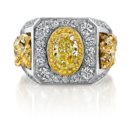 Oval Yellow Diamond Mens Ring Downtown Los Angeles Diamond District