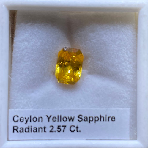 Ceylon Yellow Sapphire Radiant 2.57 Ct