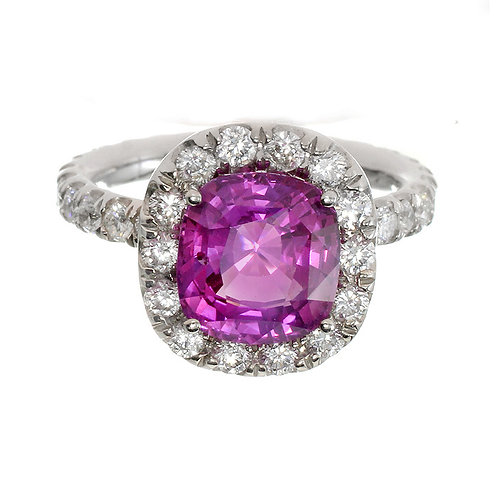 Pink Sapphire with Diamond Halo Engagement Ring Downtown Los Angeles Diamond District