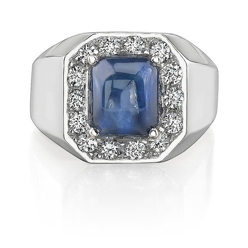 Blue Sapphire Mens Ring With Diamond Halo Downtown Los Angeles Diamond District