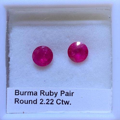 Burma Ruby Pair Round 2.22 Ct