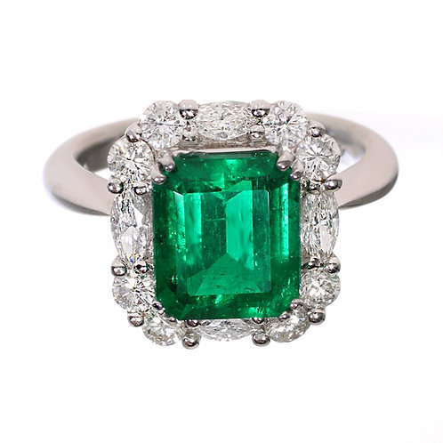 Emerald Cut Ring with Diamond Halo Downtown Los Angeles Diamond District
