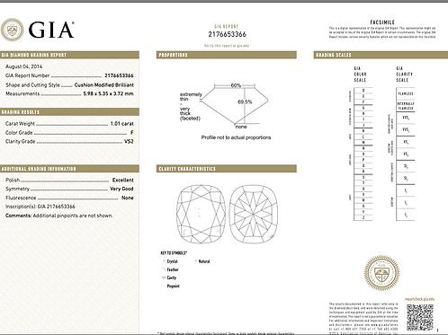 GIA Cushion 1.01 Ct. F VS2