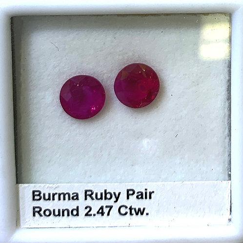 Burma Ruby Round Pair 2.47 ct