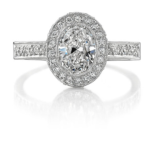 Oval Diamond Halo Engagement Ring Downtown Los Angeles Diamond District