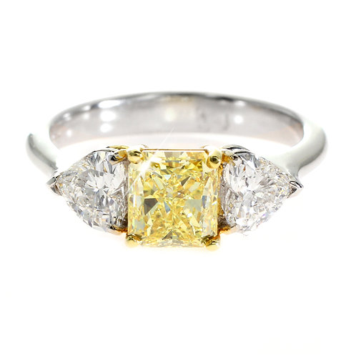 Yellow Diamond 3 stone ring Downtown Los Angeles Diamond District