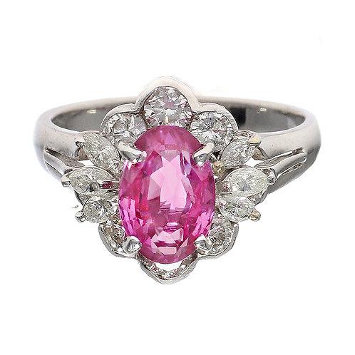 Pink Sapphire Diamond Halo Ring With Diamond Flower Cluster Downtown Los Angeles Diamond District