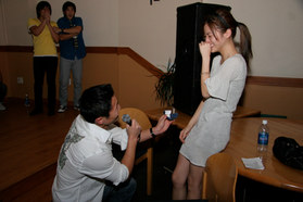 Yul Kwon, winner of Survivor: Cook Island, proposed with an INTA Gems & Diamonds ring to Sophie Tan. Spoiler alert: she said yes.
