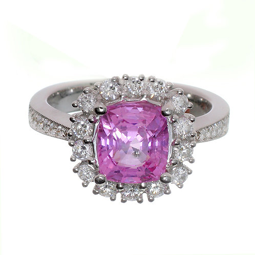Cushion Cut Pink Sapphire With Diamond Halo Engagement Ring Downtown Los Angeles Diamond District
