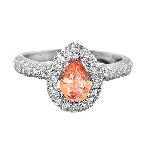 Pear Shaped Padparadscha Sapphire with Diamond Halo Ring Downtown Los Angeles Diamond District
