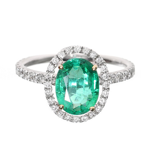 Oval Emerald With Diamond Halo Engagement Ring Downtown Los Angeles Diamond District