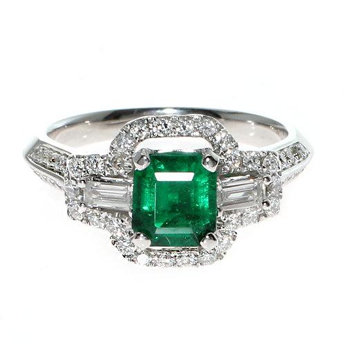 Emerald Cut Emerald with Diamond Halo Downtown Los Angeles Diamond District