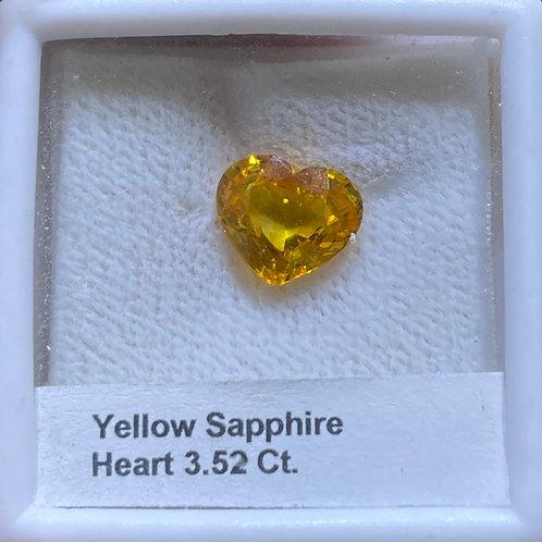 Yellow Sapphire Heart 3.52 Ct
