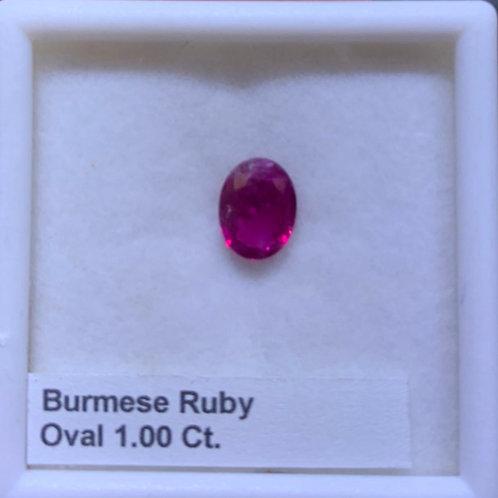 Ruby Oval Burmese 1.00 Ct.