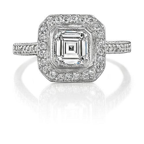 Asscher Cut Diamond Halo Engagement Ring Downtown Los Angeles Diamond District