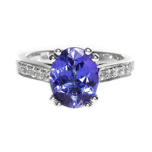 Oval Tanzanite with Diamond Solitaire Engagement Ring Downtown Los Angeles Diamond District