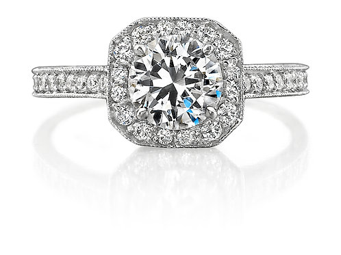 Round Diamond with Halo Engagement Ring Downtown Los Angeles Diamond District