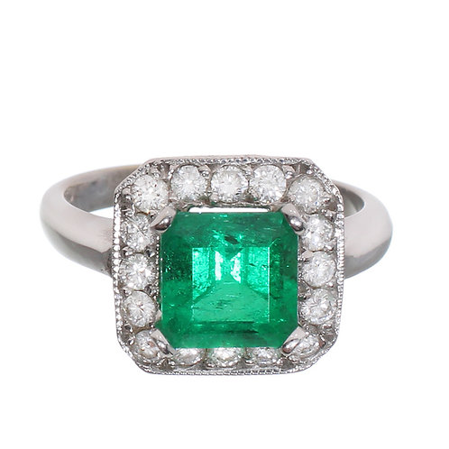 Emerald Cut Emerald with Diamond Halo Engagement Ring Downtown Los Angeles Diamond District