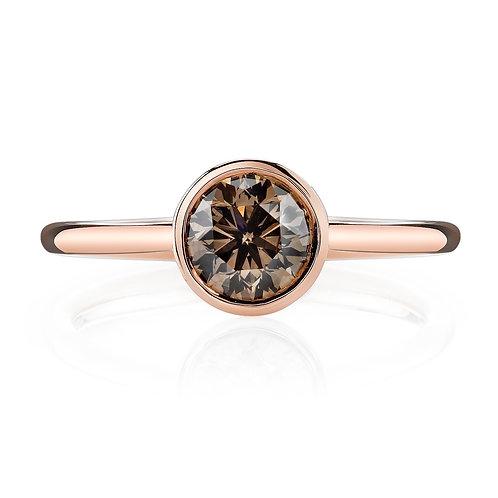Cognac Diamond Bezel Engagement Ring Downtown Los Angeles Diamond District