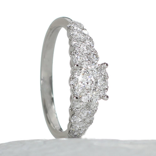 Diamond Cluster Engagement Ring Downtown Los Angeles Diamond District