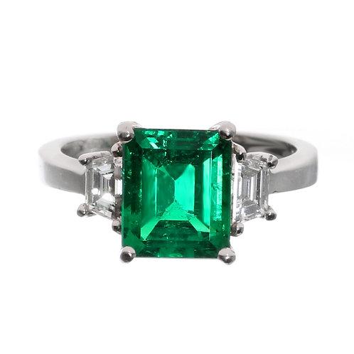 Emerald Cut Emerald 3 Stone Ring Downtown Diamond District Los Angeles