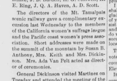 Article in Sausalito News about Susan B. Anthony speaking on woman sufferage and for McKinley at Tavern of Tamalpias, 1896