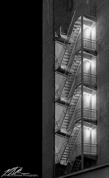 Ocala Bank building fire escape stairs, Ocala, July 2013