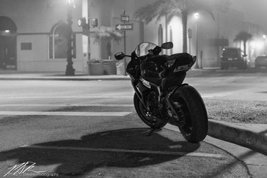 Parked motorcycle in fog, Ocala
