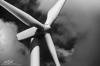 Detail of wind turbine at Paxton, Illinois, June 2018