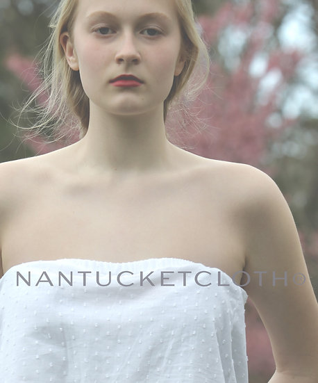 Cotton loose fit strapless soft with a sprinkle of cotton white dots, top