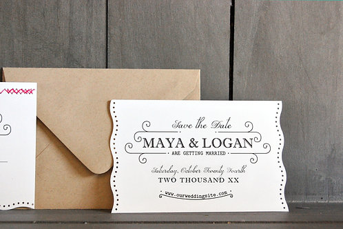 Burlap with Eyelets - Save the Date