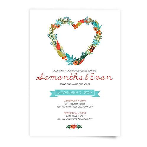 Heart Wreath - Invitation