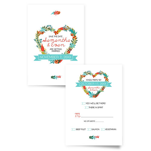 Heart Wreath - Save the Date + RSVP