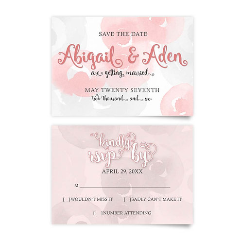 Watercolor Roses - Save the Date + RSVP
